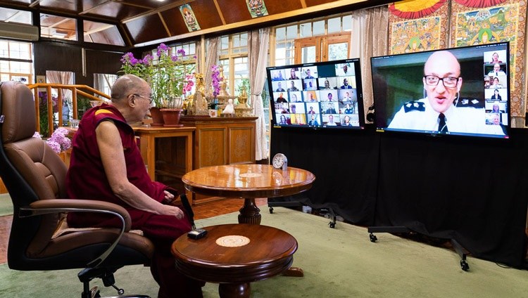Description: Detective Chief Superintendent Simon Rose offering his opening remarks at the start of His Holiness the Dalai Lama's conversation with members of the Metropolitan Police by video link from his residence in Dharamsala, HP, India on July 8, 2020. Photo by Ven Tenzin Jamphel